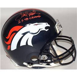 "Terrell Davis Signed Broncos Full-Size Authentic On-Field Helmet Inscribed ""2x SB Champ"" (Radtke COA"