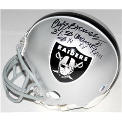 "Cliff Branch Signed Raiders Mini-Helmet Inscribed ""3x SB Champ""  ""SB XI XV XVIII"" (Beckett COA)"
