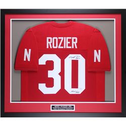 "Mike Rozier Signed Nebraska Cornhuskers 32x37 Custom Framed Jersey Inscribed ""Heisman 1983"" (JSA COA"