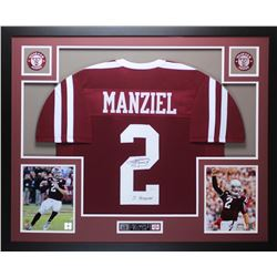 "Johnny Manziel Signed Texas AM Aggies 35"" x 43"" Custom Framed Jersey (JSA COA)"