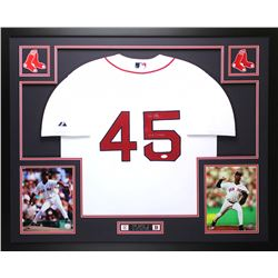 "Pedro Martinez Signed Red Sox 35"" x 43"" Custom Framed Jersey Inscribed ""04 WS Champs"" (JSA COA)"