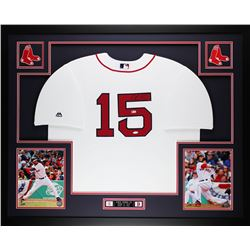 Dustin Pedroia Signed Red Sox 35x43 Custom Framed Jersey (Steiner COA)