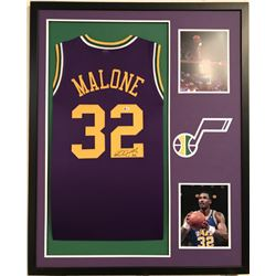 Karl Malone Signed Jazz 34x42 Custom Framed Jersey Display (Beckett COA)