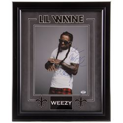 "Lil Wayne Signed 19.5x23.5 Custom Framed Photo Display Inscribed ""Weezy"" (PSA COA)"