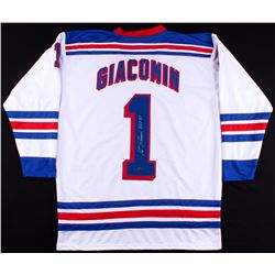 "Eddie Giacomin Signed Rangers Jersey Inscribed ""H.O.F. 87"" (Leaf COA)"