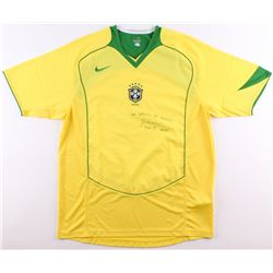 Bebeto Signed Brazil Soccer Jersey With Inscription (Hollywood Collectibles COA)