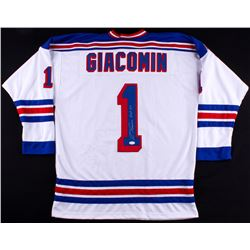 "Eddie Giacomin Signed Rangers Jersey Inscribed ""H.O.F. 87"" (JSA COA)"