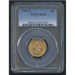 1901-S $5 Liberty Head Half Eagle Gold Coin (PCGS MS 63)