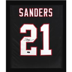 Deion Sanders Signed Falcons 23x27 Custom Framed Jersey Display (Radtke COA)
