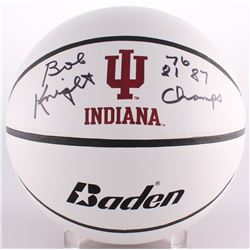 "Bobby Knight Signed Indiana Hoosiers Logo Basketball Inscribed ""76 81 87 Champs"" (Schwartz COA)"