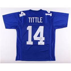 "Y. A. Tittle Signed Giants Jersey Inscribed ""HOF 71"" (Schwartz COA)"
