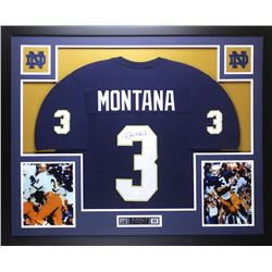 "Joe Montana Signed Notre Dame Fighting Irish 35"" x 43"" Custom Framed Jersey (JSA COA)"