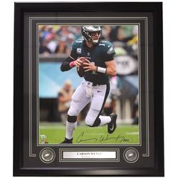 Carson Wentz Signed Eagles 22x27 Custom Framed Photo (Fanatics)