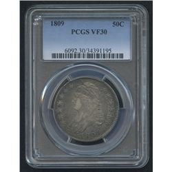 1809 50¢ Capped Bust Half Dollar (PCGS VF 30)