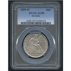 1854-O 50¢ Seated Liberty Half Dollar (PCGS AU 50) (Arrows)