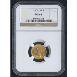 1906 $2.50 Liberty Head Gold Coin (NGC MS 62)
