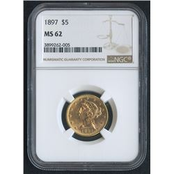 1897 $5 Liberty Head Half Eagle Gold Coin (NGC MS 62)