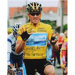 "Lance Armstrong Signed 2005 Tour De France 16x20 Photo Inscribed ""7x TDF Champ"" (Schwartz COA)"