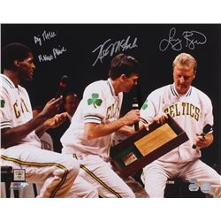 "Larry Bird, Kevin McHale  Robert Parish Signed Celtics 16x20 Retirement Night Photo Inscribed ""Big T"