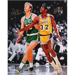 Larry Bird  Magic Johnson Signed 16x20 Photo (Bird Hologram  Schwartz COA)