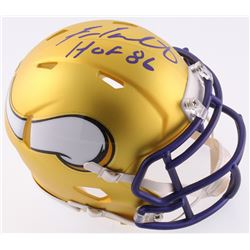 "Fran Tarkenton Signed Vikings Blaze Speed Mini-Helmet Inscribed ""HOF 86"" (Radtke COA)"