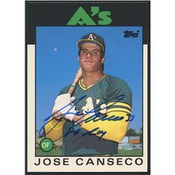 "Jose Canseco Signed 1986 Topps Traded #20T XRC Inscribed ""86 ROY"" (PA COA)"