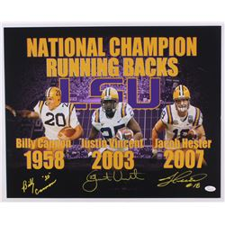 Billy Cannon, Justin Vincent  Jacob Hester Signed LSU Tigers 16x20 Photo (JSA COA)