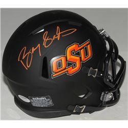 Barry Sanders Signed Oklahoma State Cowboys Matte Black Speed Mini Helmet (Schwartz COA)