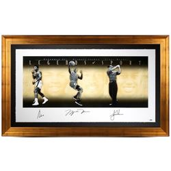"Muhammad Ali, Michael Jordan  Tiger Woods Signed ""Legends of Sport"" 34x57 Limited Edition Gold Frame"
