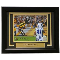 "Antonio Brown Signed Steelers ""The Flip"" 11x14 Custom Framed Photo Display (JSA COA)"