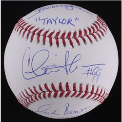 "Charlie Sheen, Tom Berenger  Corbin Bernsen Signed OML Baseball Inscribed ""Taylor""  ""Dorn"" (Schwartz"