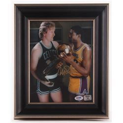 Magic Johnson Signed Lakers 11.25x13.25 Custom Framed Photo Display (PSA COA  Johnson Hologram)