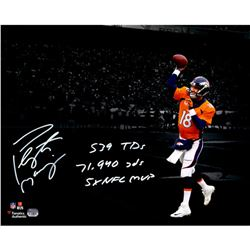 "Peyton Manning Signed Broncos 16x20 Photo Inscribed ""539 TDS"", ""71,940 Yards"", ""5X NFL MVP"" (Fanatic"
