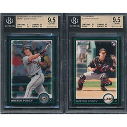 Lot of (2) BGS Graded (9.5) Buster Posey Rookie Cards with 2010 Bowman Chrome Draft #BDP61 RC   2010