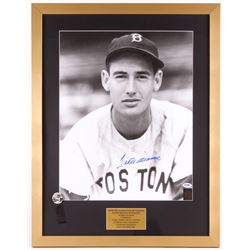 Ted Williams Signed Red Sox 21x27 Custom Framed Photo With Pin (PSA LOA  Ted Williams Hologram)
