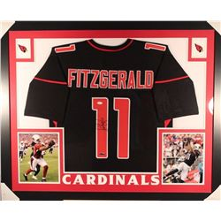 Larry Fitzgerald Signed Cardinals 35x43 Custom Framed Jersey Display (JSA COA)