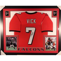 Michael Vick Signed Falcons 35x43 Custom Framed Jersey Display (JSA COA)