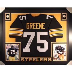 "Joe Greene Signed Steelers 35x43 Custom Framed Jersey Display Inscribed ""HOF 87"" (JSA COA)"