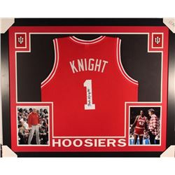 Bob Knight Signed Indiana Hoosiers 35x43 Custom Framed Jersey Display (JSA COA)