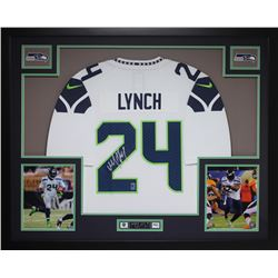 "Marshawn Lynch Signed Seahawks 35"" x 43"" Custom Framed Jersey (Lynch Hologram)"