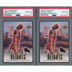Lot of (2) 2003 Upper Deck City Heights LeBron James #NNO LeBron James (PSA 10)