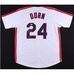 "Corbin Bernsen Signed ""Major League"" Indians Jersey Inscribed ""Dorn"" (JSA COA)"