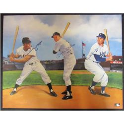"Mickey Mantle, Willie Mays  Duke Snider Signed 22x28 Poster Inscribed ""No. 7"" (JSA LOA)"