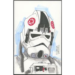 "Tom Hodges - AT-AT Driver ""Star Wars"" Signed ORIGINAL 5.5"" x 8.5"" Color Drawing on Paper (1/1)"