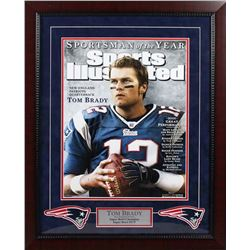 "Tom Brady Signed Patriots ""Sportsman of the Year"" 24x28 Custom Framed Photo Display (Steiner COA  Tr"