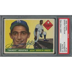 Sandy Koufax Signed 1955 Topps #123 RC - Autograph Graded 10 (PSA Encapsulated)