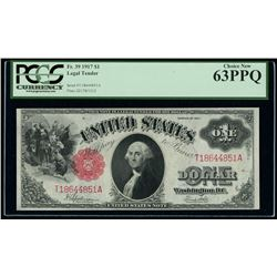 1917 $1 One Dollar Legal Tender Large Bank Note Bill (PCGS 63)(PPQ)