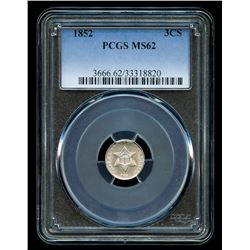1852 3¢ Three-Cent Silver Trime (PCGS MS 62)