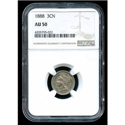 1888 3¢ Three-Cent Nickel (NGC AU 50)