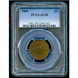1865 Two Cent Piece (PCGS AU 58)